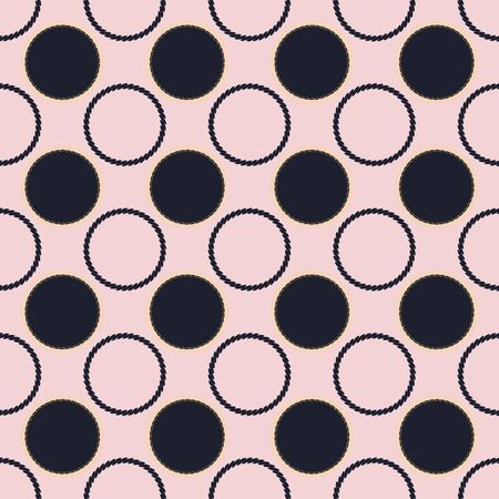 Geometric illustration in black and pink. Vector illustration with looped chain circles and dots.