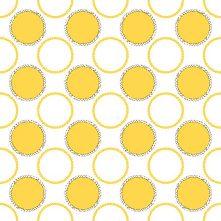 Geometric illustration in cream, yellow and grey. Vector illustration with looped chain circles and dots.