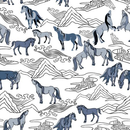 Seamless illustration of relaxing and playful horses in different poses, stylized mountains, hills, winds and rivers. Vector pattern in shades of white, grey and black. Designed for scrapbooking, wallpaper, gift wraps, fabric, home decor. Imagens
