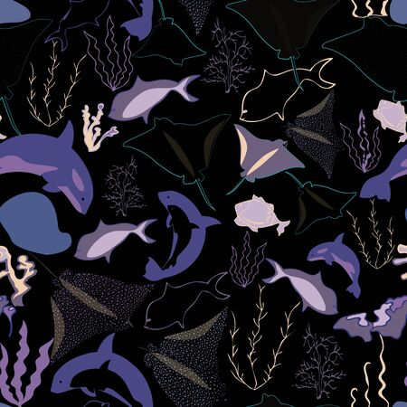 Seamless pattern illustration of underwater corals, whales, rocks, fish and seaweeds in lilac, aqua, pink, yellow and purple. Perfect for gifts, background, fabric and scrapbooking. Imagens