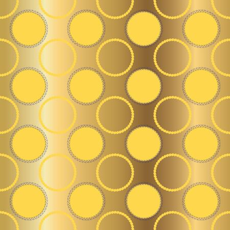 Geometric illustration in cream, yellow, mustard, olive and grey. Vector illustration with looped chain circles and dots. Stock Photo