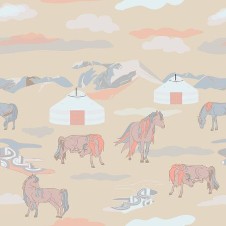 Seamless illustration of mongolian traditional family gers, relaxing and playful horses in different poses, mountains and clouds in a landscape of Mongolia. Vector pattern in shades of yellow, cream, red, brown and black. Designed for scrapbooking, wallpaper, gift wraps, fabric, home decor.