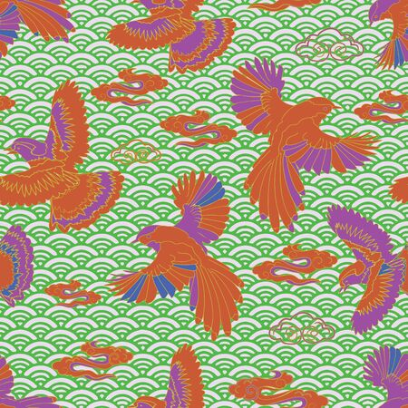 Illustration of birds, blue jay, falcon, waves and clouds. Seamless repeat pattern in green, cream, blue, orange, raspberry and purple.