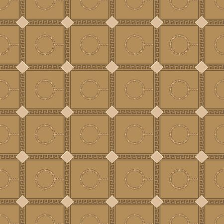 Geometric seamless repeat pattern. Vector illustration of rhombuses, gold chain circles and checkered traditional ornaments in cream, olive, tan and brown. 일러스트