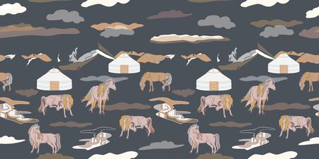 Seamless illustration of mongolian traditional family gers, relaxing and playful horses in different poses, mountains and clouds in a landscape of Mongolia. Vector pattern in shades of yellow, cream, olive, grey, brown and black. Designed for scrapbooking, wallpaper, gift wraps, fabric, home decor. Stock Vector - 136713947