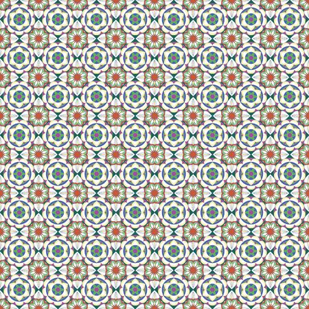 SEAMLESS ORNATE PATTERN WITH MANDALA ELEMENTS IN SHADES OF ORANGE, CREAM, GREEN AND YELLOW. MANDALA TEXTURE. VECTOR TEMPLATE FOR FABRIC, WALLPAPER, TILE, WRAPPING, COVERS AND CARPETS.