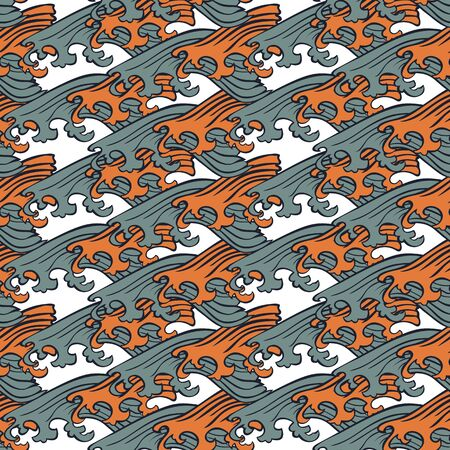 Seamless abstract retro geometric pattern. Illustration of sage, orange and white elements and swirly waves. Ideal for fashion, gift, paper, scrapbooking and fabric.
