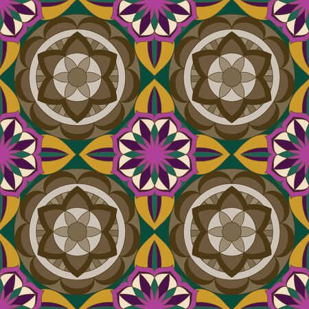 SEAMLESS ORNATE PATTERN WITH MANDALA ELEMENTS IN SHADES OF RASPBERRY, PURPLE, CREAM, GREY, BLACK AND OLIVE. MANDALA TEXTURE. VECTOR TEMPLATE FOR FABRIC, WALLPAPER, TILE, WRAPPING, COVERS AND CARPETS.