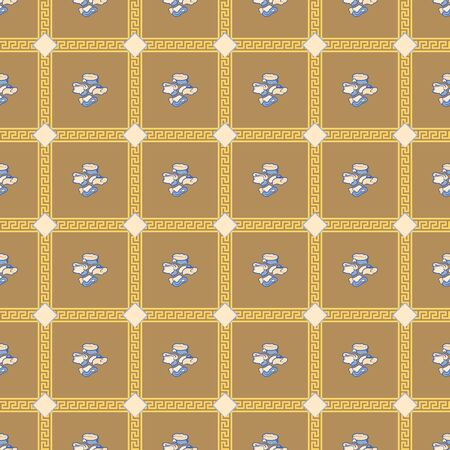 Geometric seamless repeat pattern. Vector illustration of stylized sheep ankle bones, traditional ornaments and rhombuses in blue, cream, yellow and olive.