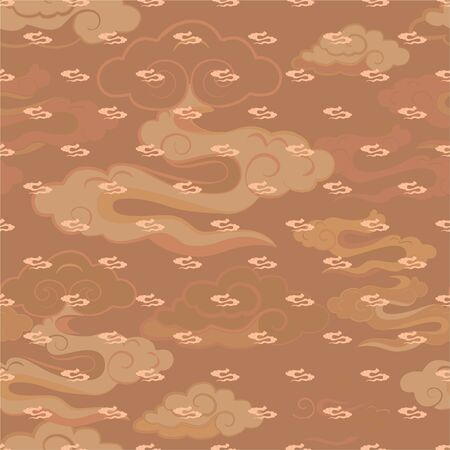 Vector Illustration of stylized, abstract, tan, beige, cream clouds resembling dragon tails at beautiful lunar twilight. Ideal for fabric