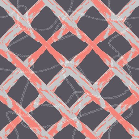 MODERN ABSTRACT GEOMETRIC VECTOR SEAMLESS PATTERN. BACKGROUND WALLPAPER ILLUSTRATION WITH CHAINS AND CRISS-CROSSED LATTICES DRAWN IN STYLIZED WATERCOLOR TECHNIQUE.