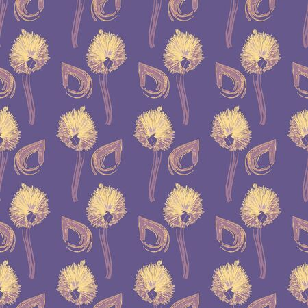 Seamless pattern with dandelions and teardrops in geometric layout. Vector illustration in watercolour style.
