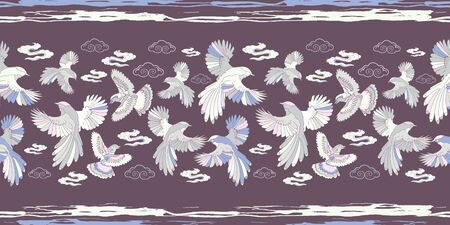 Illustration of birds, blue jay, falcons and clouds. Seamless repeat pattern in lilac, blue, aqua, grey, white and purple.
