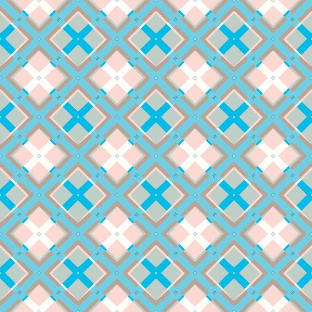 MODERN ABSTRACT GEOMETRIC VECTOR SEAMLESS PATTERN. BACKGROUND WALLPAPER ILLUSTRATION WITH DIAGONAL RECTANGLES, RHOMBUSES, STUDS, EYELETS AND STRIPES.