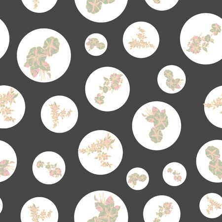 Floral seamless pattern. Vector illustration of abstract leaves, flowers, petunias, dots and daisies in pink, yellow, olive, white and black. Designed for fashion, fabric, home decor.