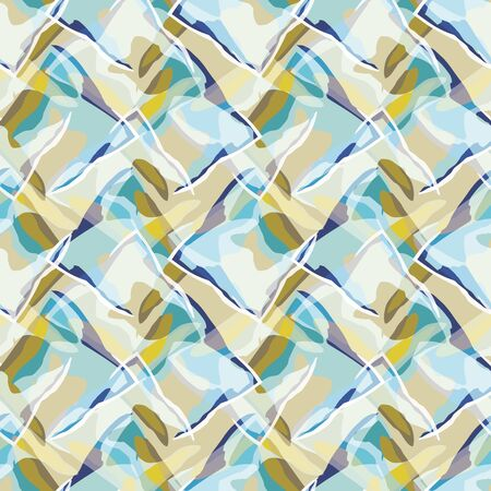 Abstract seamless pattern with abstract uneven rectangles. Vector illustration in shades of navy, sage, cream, olive and green in stylized watercolour style.