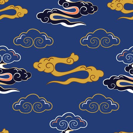 Vector Illustration of stylized, abstract, indigo,yellow, coral clouds resembling dragon tails at beautiful lunar twilight. Ideal for fabric 免版税图像