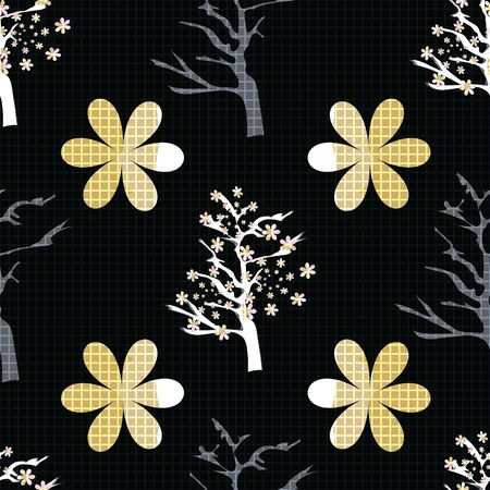 Vector Illustration of stylized, abstract cherry blossom trees in black, yellow, mustard, pink and white. Ideal for fabric and home decor.