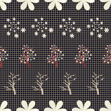 Vector Illustration of stylized, abstract cherry blossom trees in black, yellow, mustard, olive and white. Ideal for fabric and home decor.