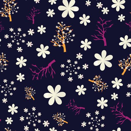 Vector Illustration of stylized, abstract cherry blossom trees in black, yellow, orange, raspberry and white. Ideal for fabric and home decor.