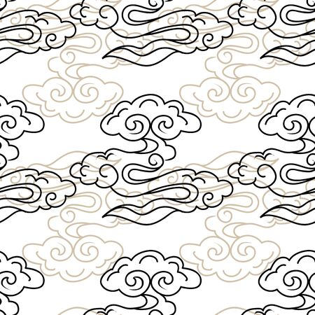 Vector Illustration of stylized, abstract clouds resembling dragon tails at beautiful lunar twilight. Ideal for fabric, giftwraps, home decor and crafts. Фото со стока