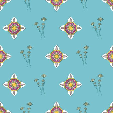SEAMLESS COLORED ORNATE PATTERN WITH LOTUS FLORAL AND MANDALA ELEMENTS. VECTOR TEMPLATE FOR FABRIC, WALLPAPER, TILE, WRAPPING, COVERS AND CARPETS.
