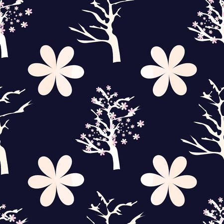 Vector Illustration of stylized, abstract cherry blossom trees in black, pink, cream and white. Ideal for fabric and home decor.