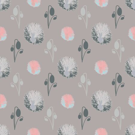 Seamless pattern with dandelions and plants in geometric layout. Vector illustration in watercolour style.