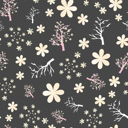 Vector Illustration of stylized, abstract cherry blossom trees in black, pink, yellow, green, cream and white. Ideal for fabric and home decor. Stockfoto