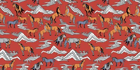 Seamless illustration of relaxing and playful horses in different poses, stylized mountains, hills, winds and rivers. Vector pattern in shades of red, orange, cream, blue and brown. Designed for scrapbooking, wallpaper, gift wraps, fabric, home decor.