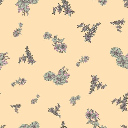 Floral seamless pattern. Vector illustration of abstract leaves, flowers, petunias and daisies in lilac, sage and yellow. Designed for fashion, fabric, home decor.