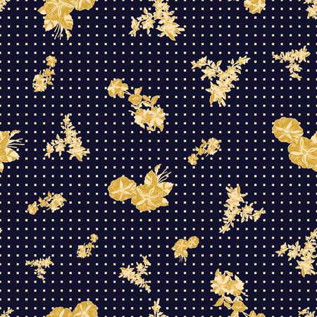 Floral seamless pattern. Vector illustration of abstract leaves, flowers, petunias and daisies in black, cream and yellow. Designed for fashion, fabric, home decor.