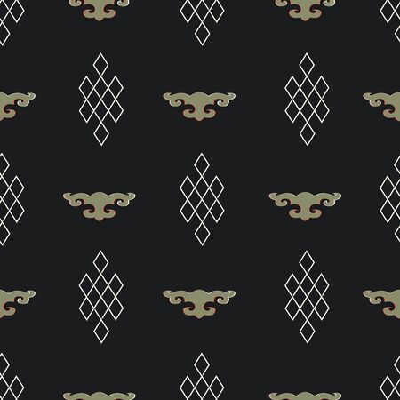 Illustration of mongolian traditional symbols, motifs and ornaments. Geometric pattern.