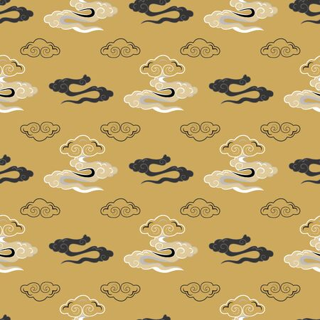 Vector Illustration of stylized, abstract clouds resembling dragon tails at beautiful lunar twilight. Ideal for fabric, giftwraps, home decor and crafts.