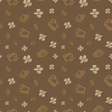 Geometric seamless repeat pattern. Vector illustration of stylized sheep ankle bones in olive, mustard and cream. Mongolian traditional good luck charm motifs.
