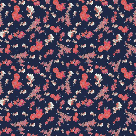 Floral seamless pattern. Vector illustration of abstract leaves, flowers, petunias and daisies in black, sage, pink and red. Designed for fashion, fabric, home decor. Stockfoto