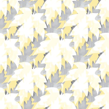 Illustration of stylized maple leaves in grey, black, white and yellow texture. Seamless pattern, vector background for gifts, posters, flyers, wallpaper, textile, fabric and scrapbooking.