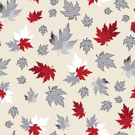 Illustration of stylized maple leaves with solid red, burgundy, grey colors and stripes. Seamless pattern, vector background for gifts, posters, flyers, wallpaper, textile, fabric and scrapbooking.