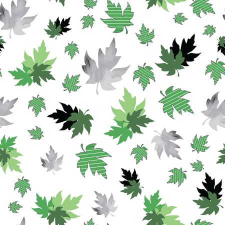 Illustration of stylized maple leaves with solid green, mint, black colors and stripes. Seamless pattern, vector background for gifts, posters, flyers, wallpaper, textile, fabric and scrapbooking.