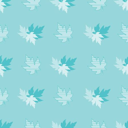 Illustration of stylized maple leaves in aqua, blue and white texture. Seamless pattern, vector background for gifts, posters, flyers, wallpaper, textile, fabric and scrapbooking. Banco de Imagens