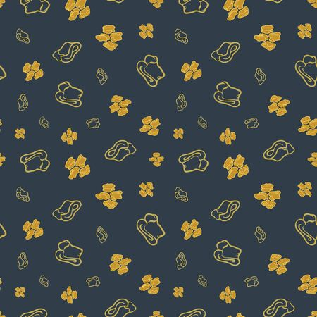 Seamless repeat pattern. Vector illustration of stylized sheep ankle bones in mustard, olive and black. Mongolian traditional good luck charm motifs.