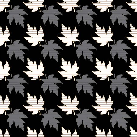 Illustration of stylized maple leaves in solid grey, black, white colors with orange, olive and yellow stripes. Seamless pattern, vector background for gifts, posters, flyers, wallpaper, textile, fabric and scrapbooking. Banco de Imagens