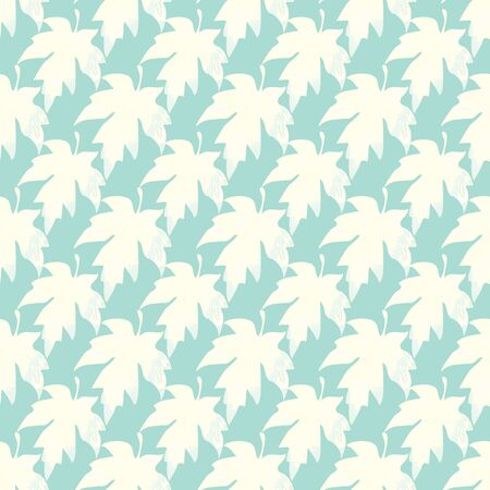 Illustration of stylized maple leaves in soft cream and pastel blue colours. Seamless pattern, vector background for gifts, posters, flyers, wallpaper, textile, fabric and scrapbooking.