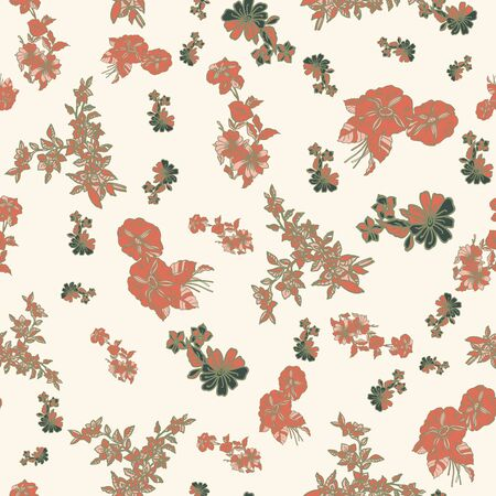 Floral seamless pattern. Vector illustration of abstract leaves, flowers, petunias and daisies in tan, sage, green and cream. Designed for fashion, fabric, home decor. Imagens
