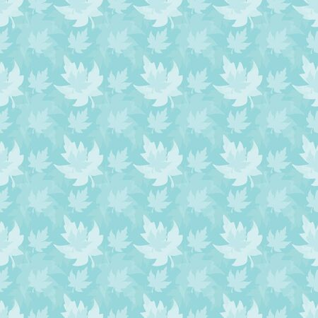 Illustration of stylized maple leaves in shades of aqua. Seamless pattern, vector background for gifts, posters, flyers, wallpaper, textile, fabric and scrapbooking.