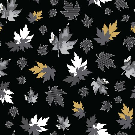 Illustration of stylized maple leaves in grey, black, white and yellow stripes. Seamless pattern, vector background for gifts, posters, flyers, wallpaper, textile, fabric and scrapbooking.