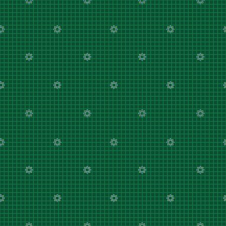Seamless repeat pattern. Vector illustration of small white flowers on textured green grid background.