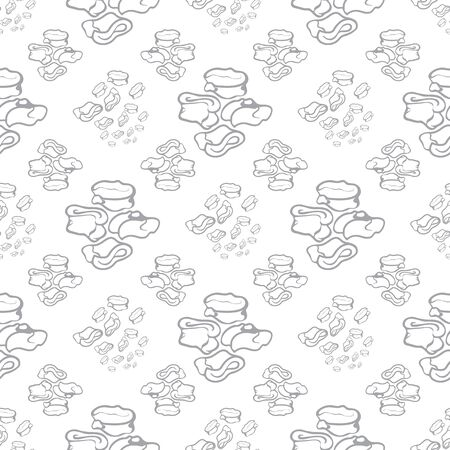 Seamless repeat pattern. Vector illustration of stylized sheep ankle bones in white and grey. Mongolian traditional good luck charm motifs.