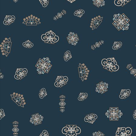Vector Illustration of stylized traditional ornaments and motifs. Mongolian jewelry motifs in tan, yellow, grey, blue and black. Stockfoto