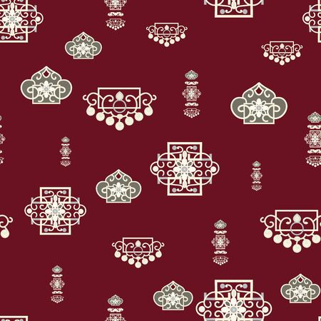 Vector Illustration of stylized traditional ornaments and motifs. Mongolian jewelry motifs on oxblood red background.